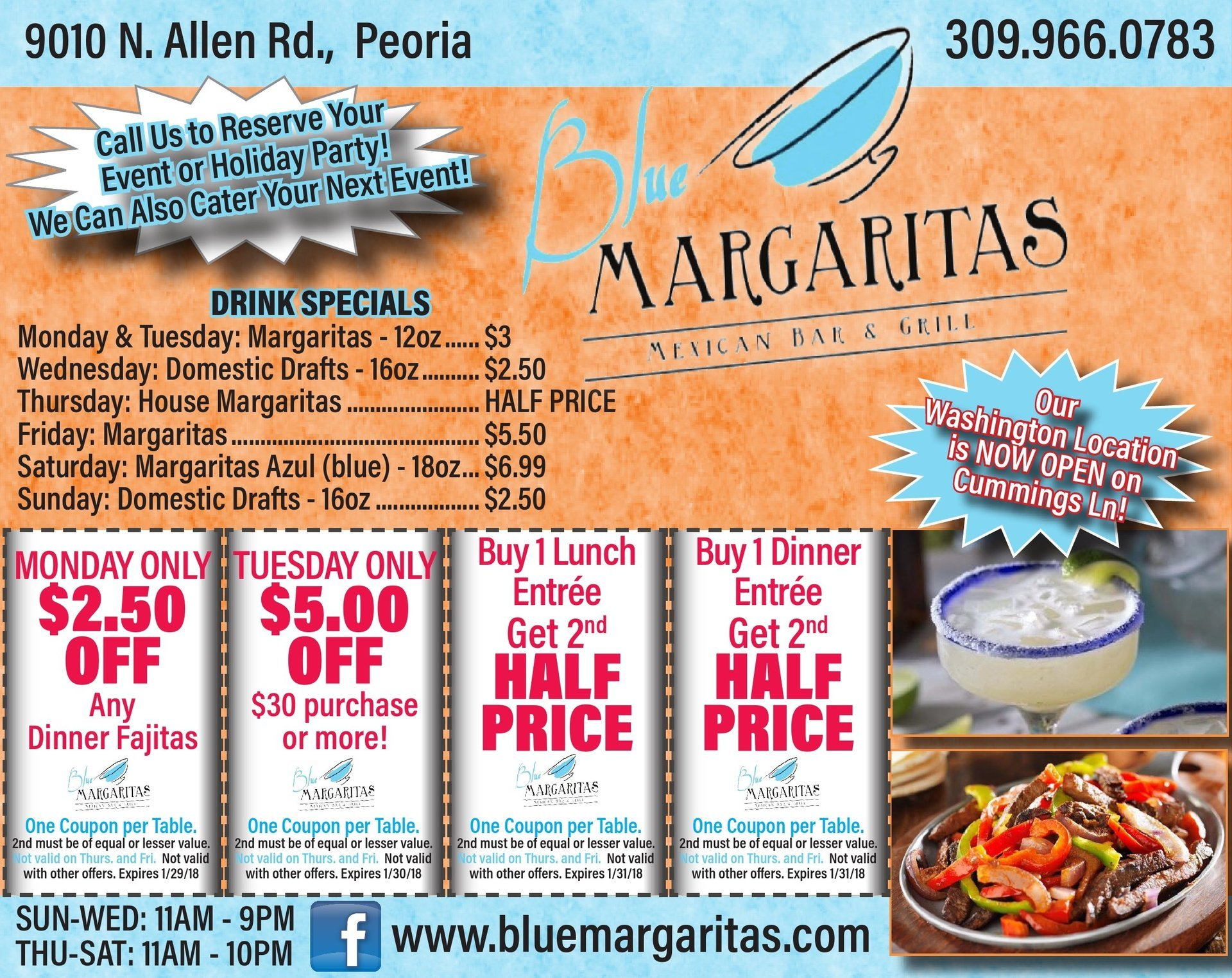 Blue Margaritas Mexican Bar and Grill coupons Peoria, IL
