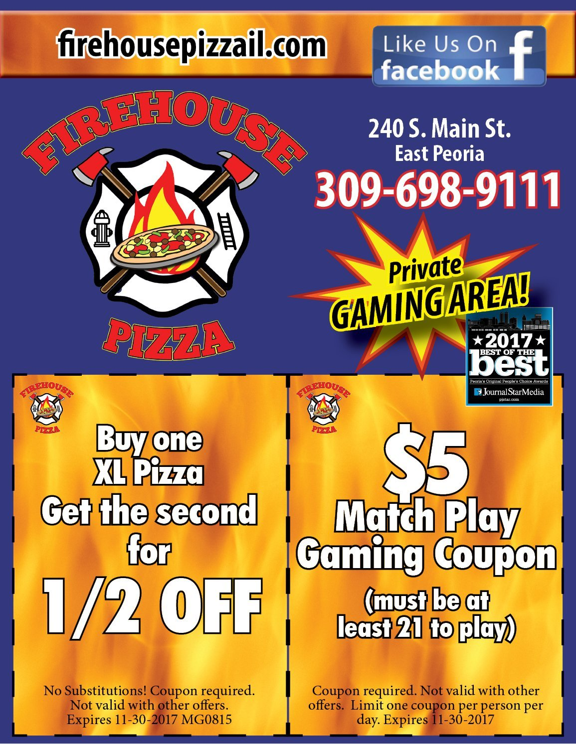 Firehouse Pizza and Pub coupons and $5 match play East Peoria, IL