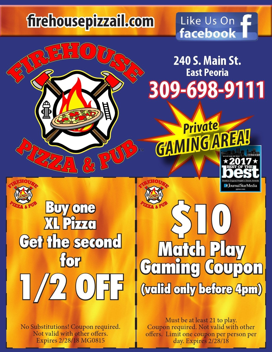 Firehouse Pizza and Pub coupons and $10 match play East Peoria, IL