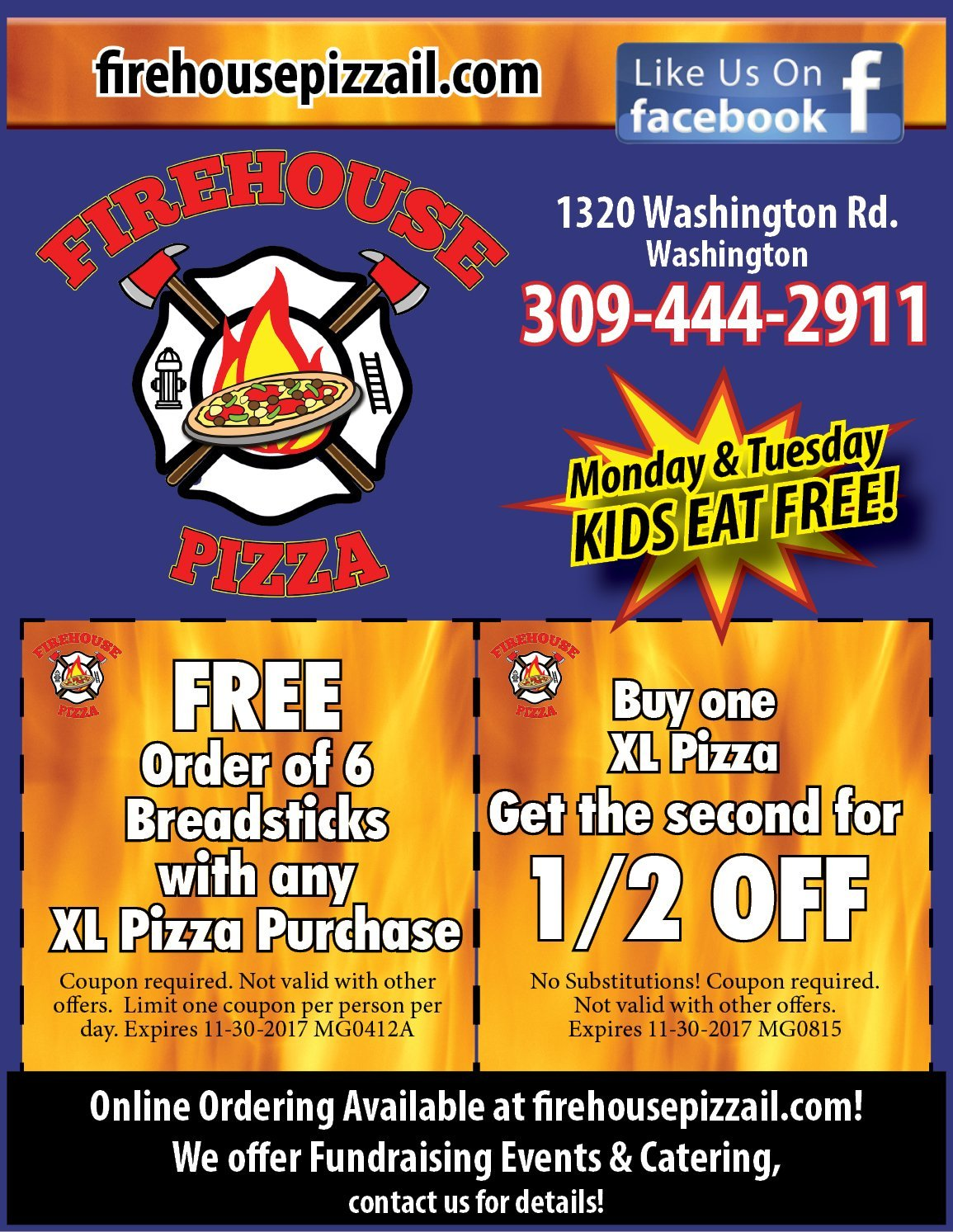Firehouse Pizza half off Pizza and free breadsticks coupons Washington, IL