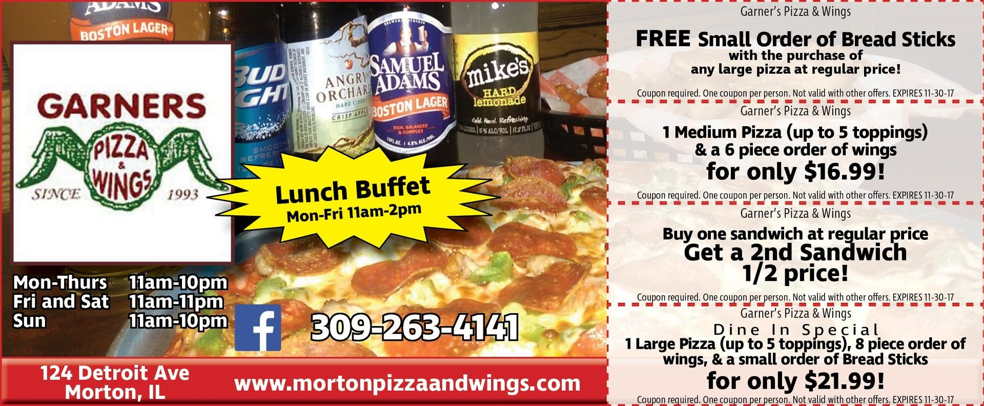 Garners Pizza and Wings pizza, wings, sandwich coupons Morton, IL