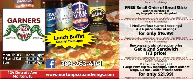 Garners Pizza and Wings Morton coupons