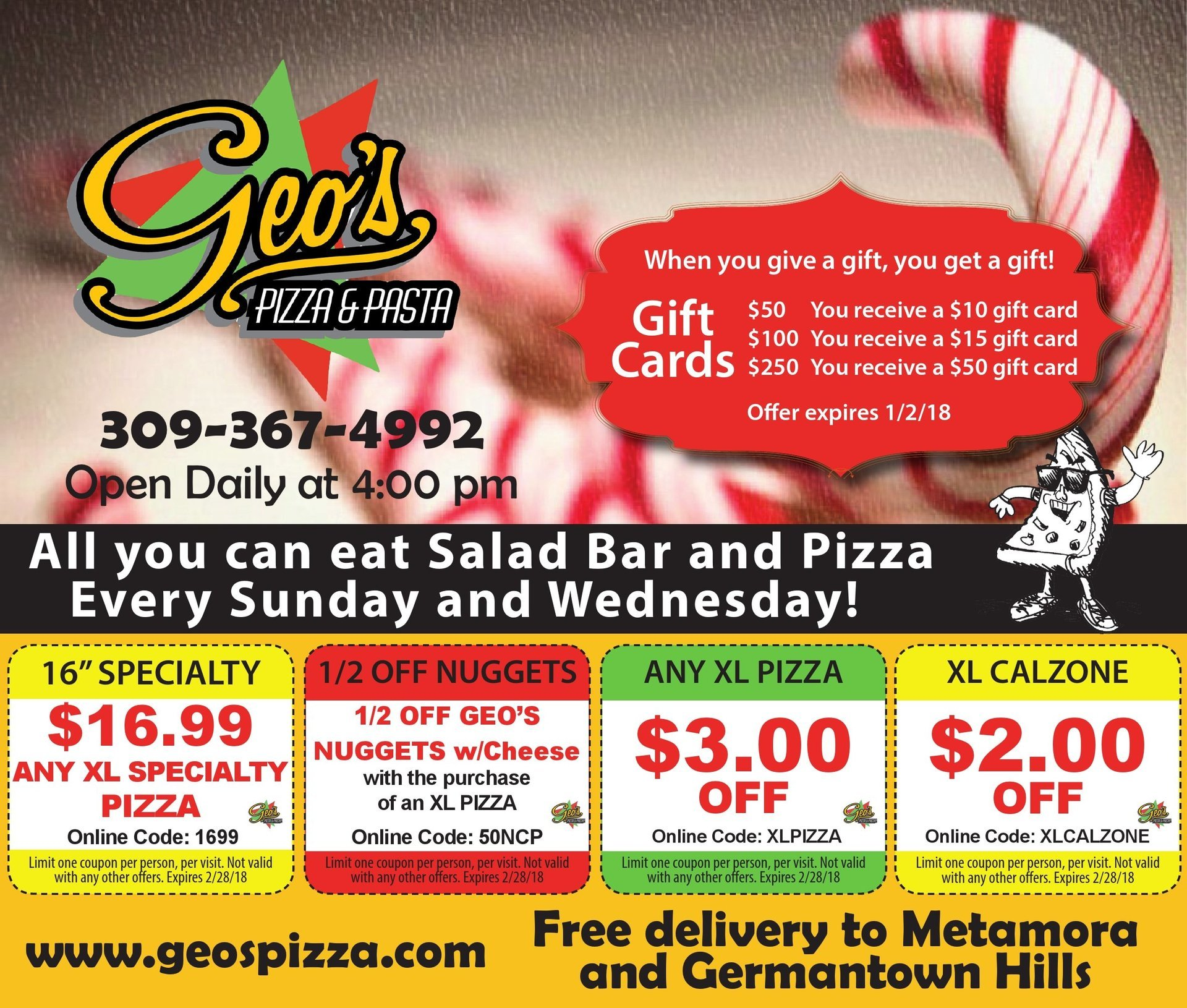 Geo's Pizza and Pasta XL pizza, nuggets, calzone coupons Metamora, IL