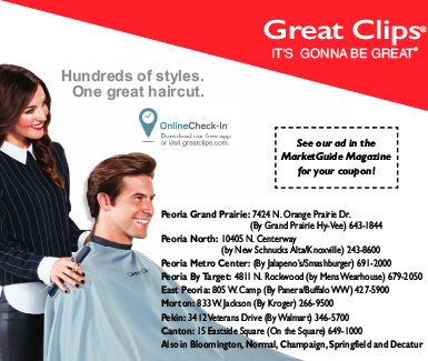 Great Clips coupon in the MarketGuide Magazine Peoria, IL