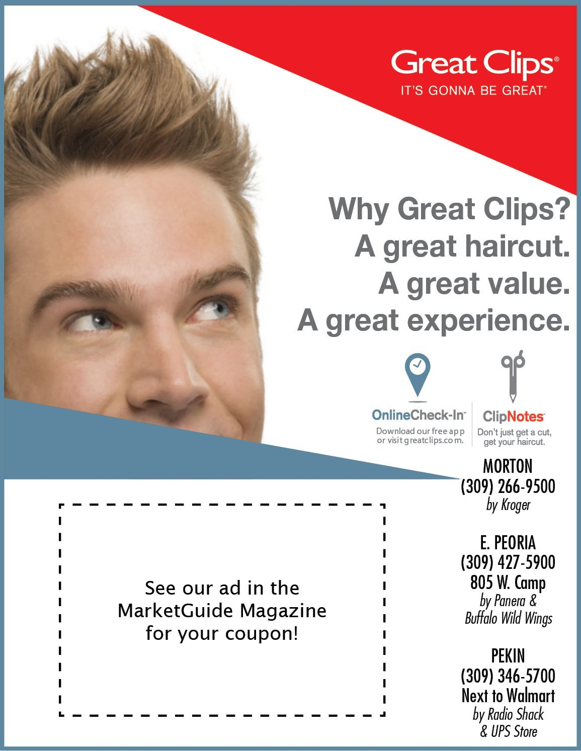 Great Clips haircut coupons in MarketGuide Magazine $9.99 coupons East Peoria, Morton, Pekin, IL
