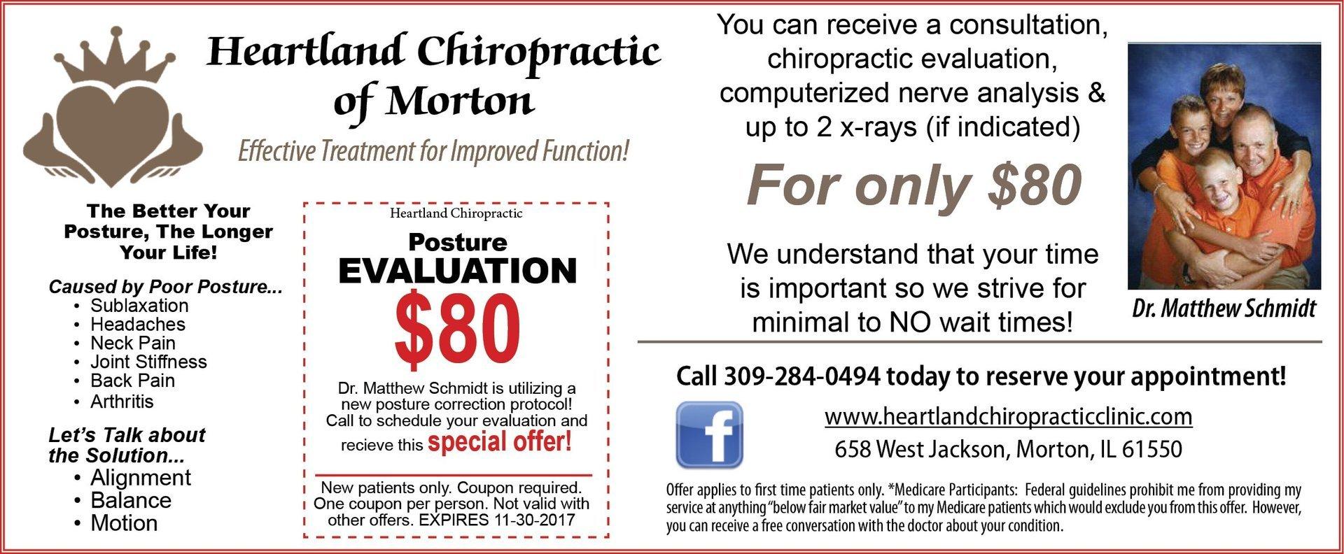 Heartland Chiropractic of Morton posture and cosultaion coupons Morton, IL