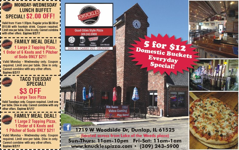 Knuckles Pizza and Sports Bar coupons