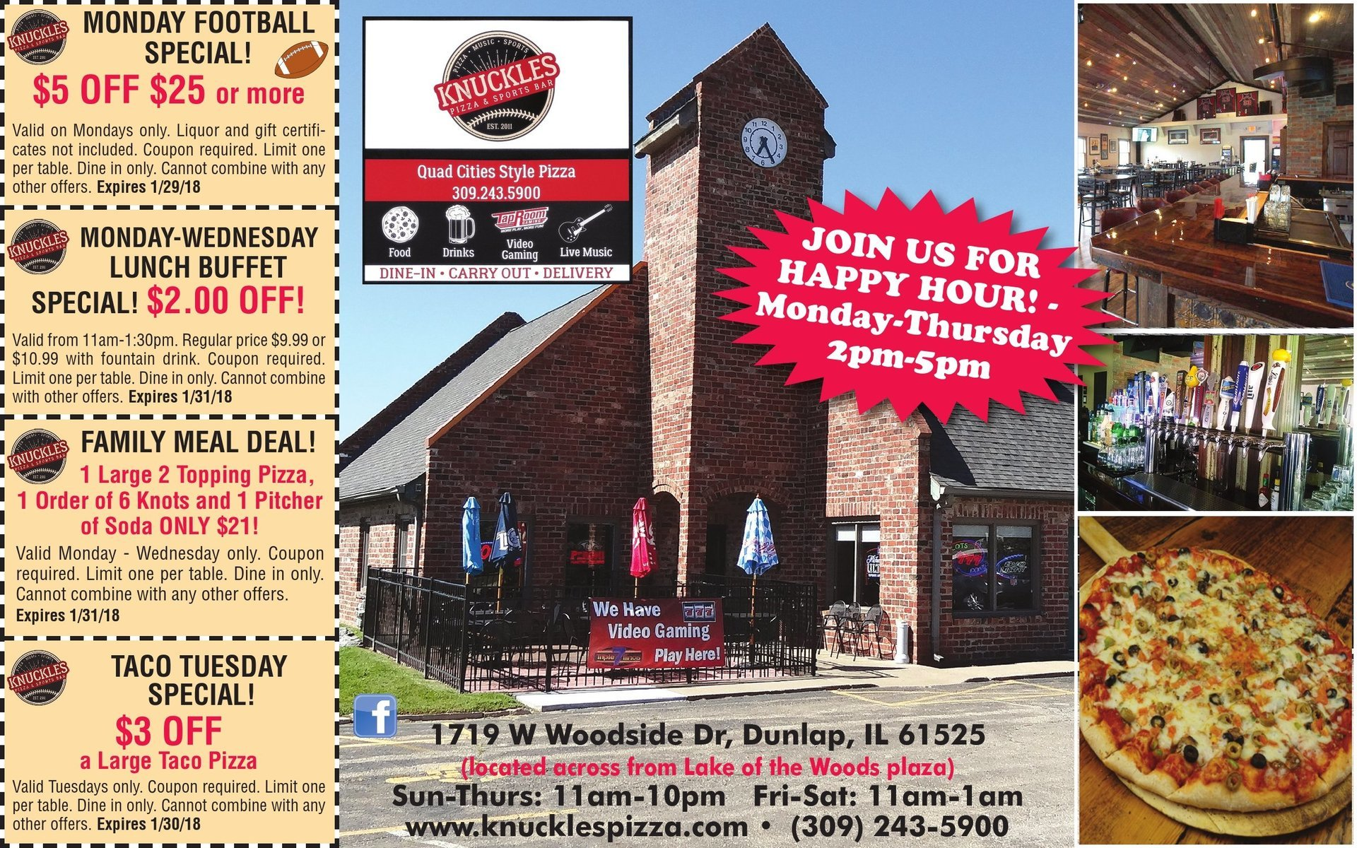 Knuckles Pizza and Sports Bar coupons Taco Tuesday Dunlap, IL