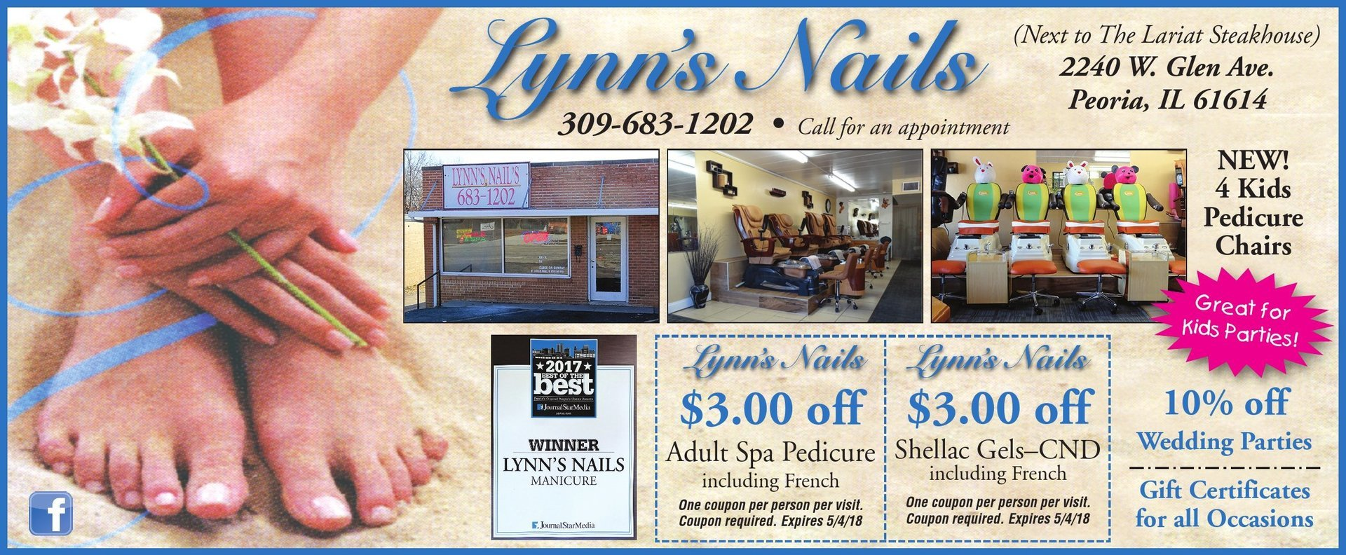 Lynn's Nails and Salon pedicure shellac gels coupons Peoria, IL