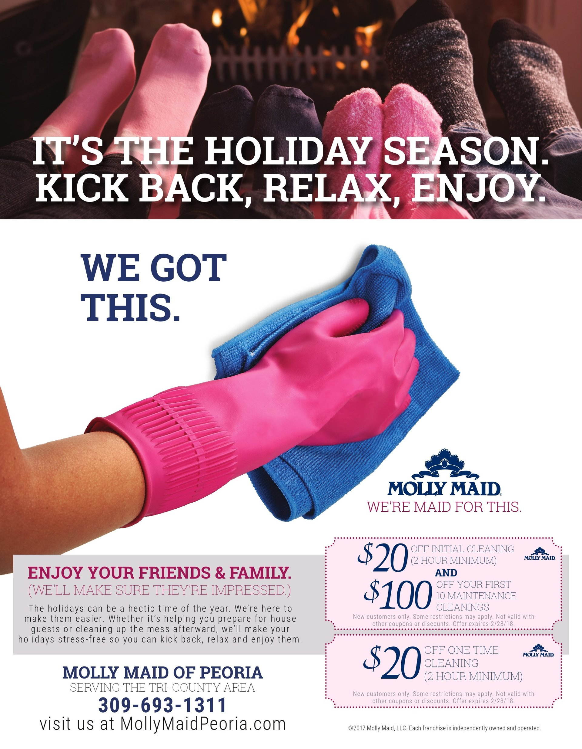 Molly Maid of Peoria house cleaning coupons Tri-County area Peoria, IL