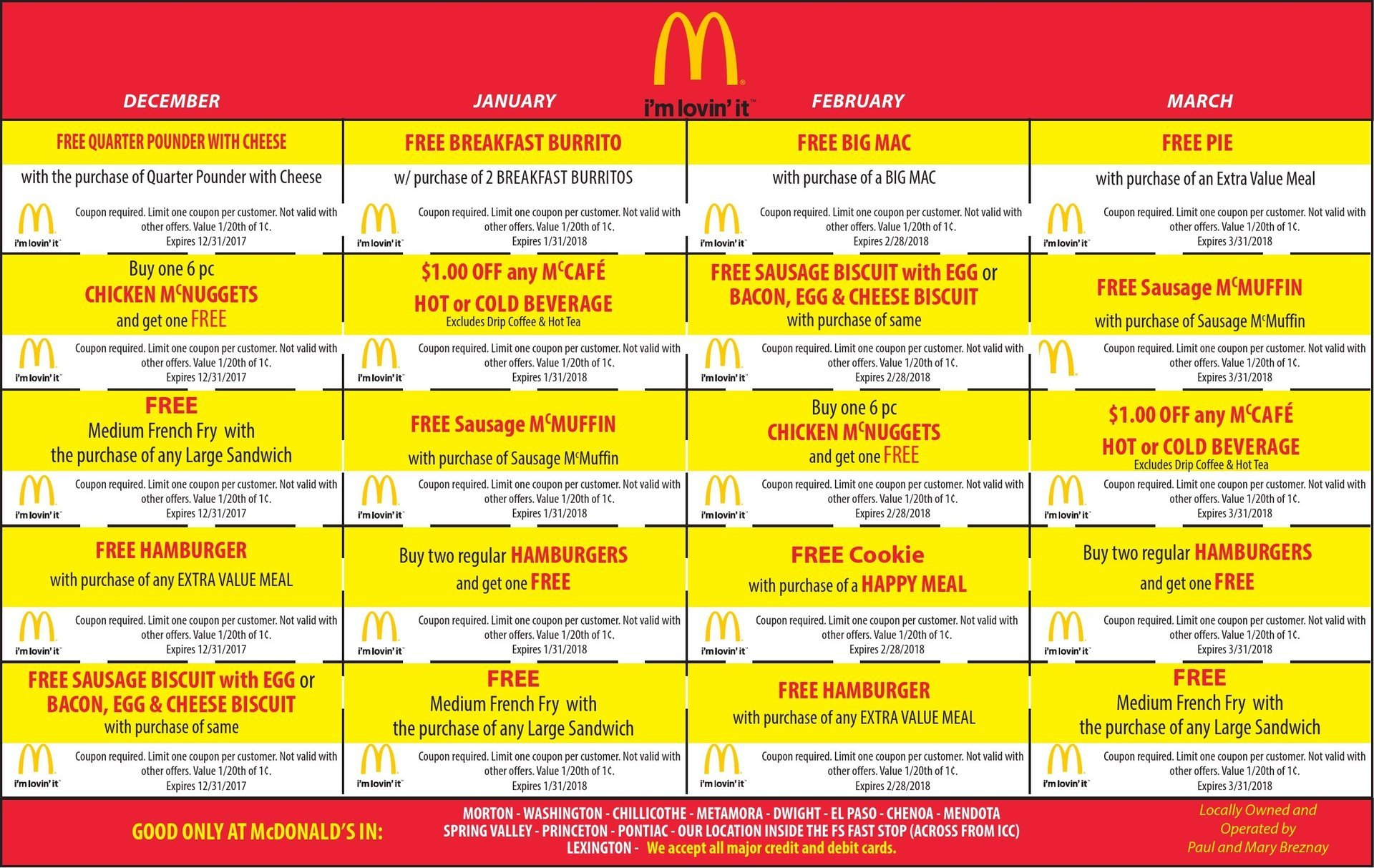 McDonald's food, breakfast, lunch and dinner coupons Morton, Washington, Metamora, IL
