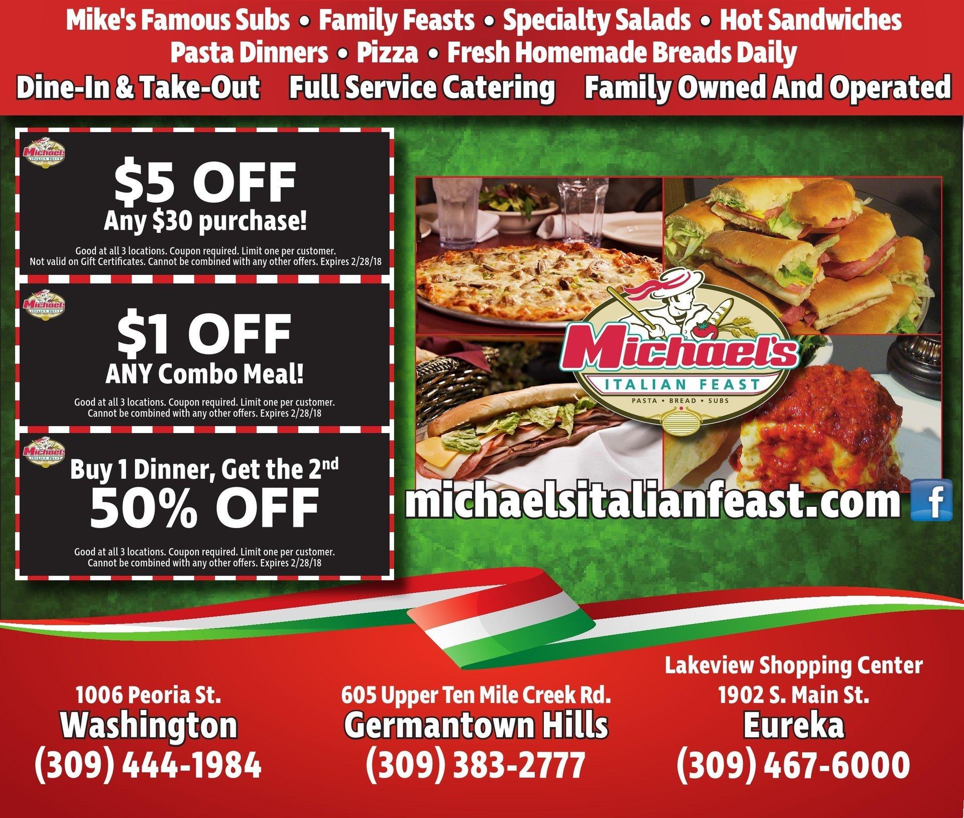 Michael's Italian Feast coupons BOGO $5 off $1 off Washington, Germantown Hill, Metamora, IL