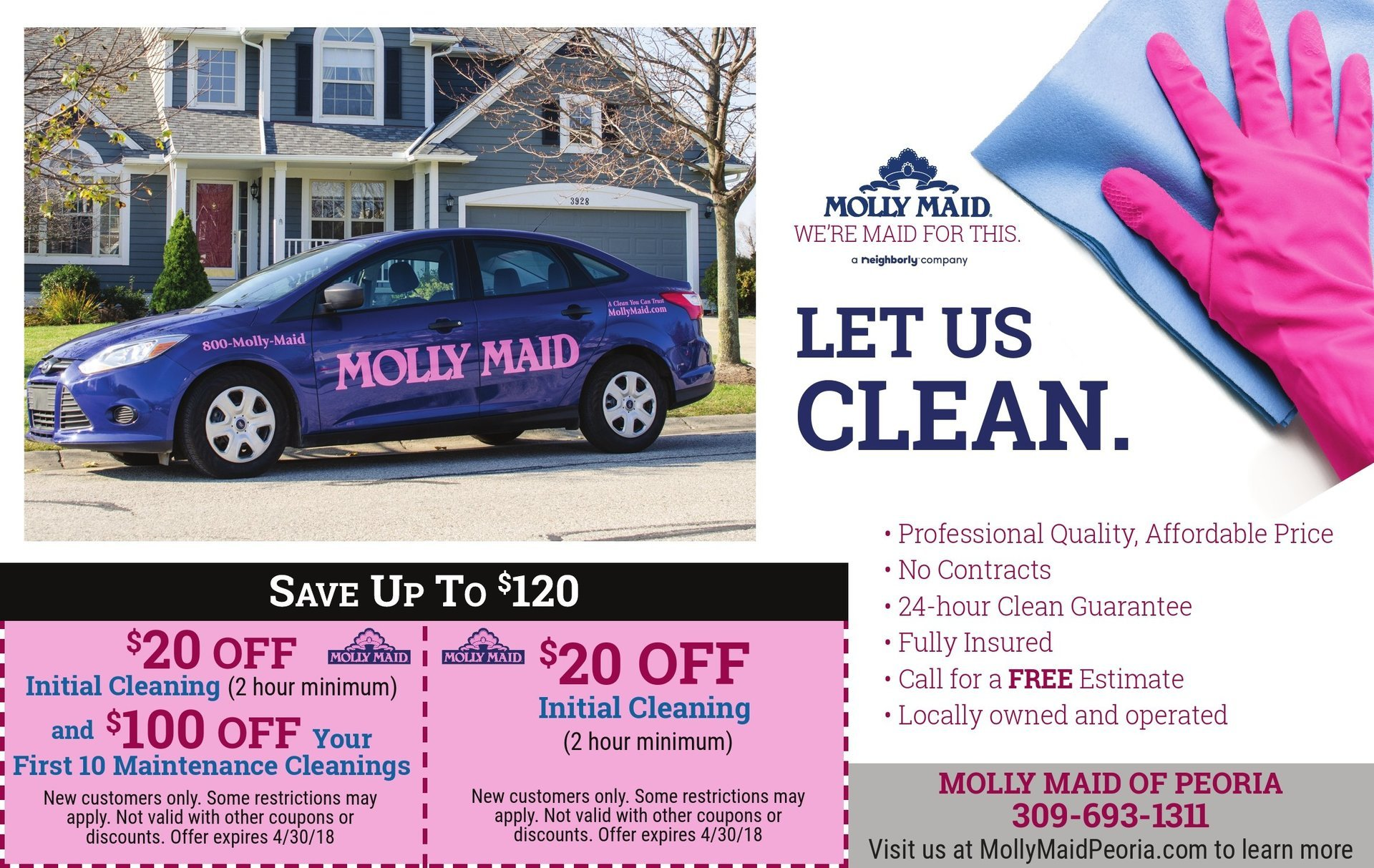 Molly Maid house home cleaners coupons serving the tri county area Peoria, IL