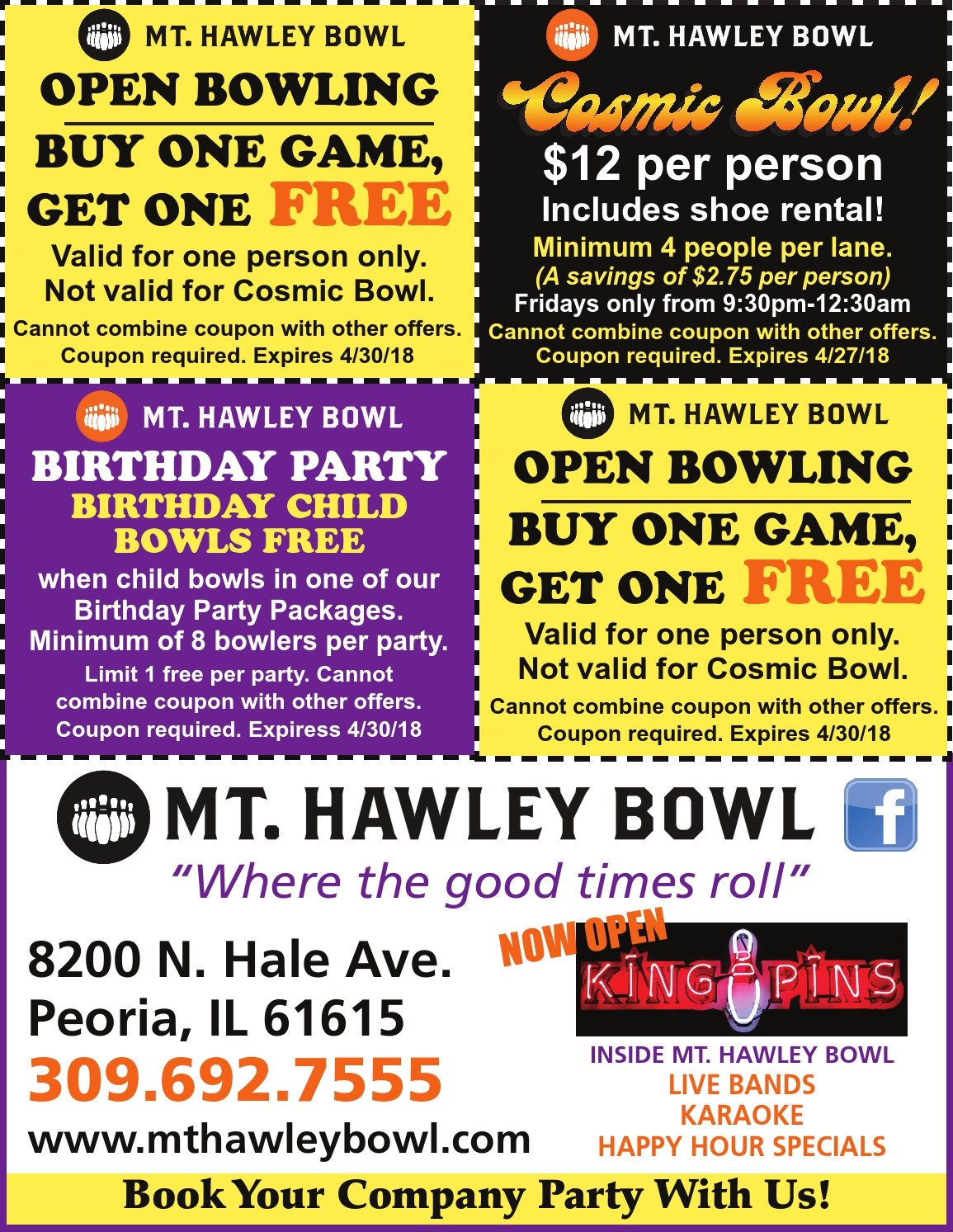 Mt Hawley Bowl castle golf cosmic bowling coupons Peoria, IL