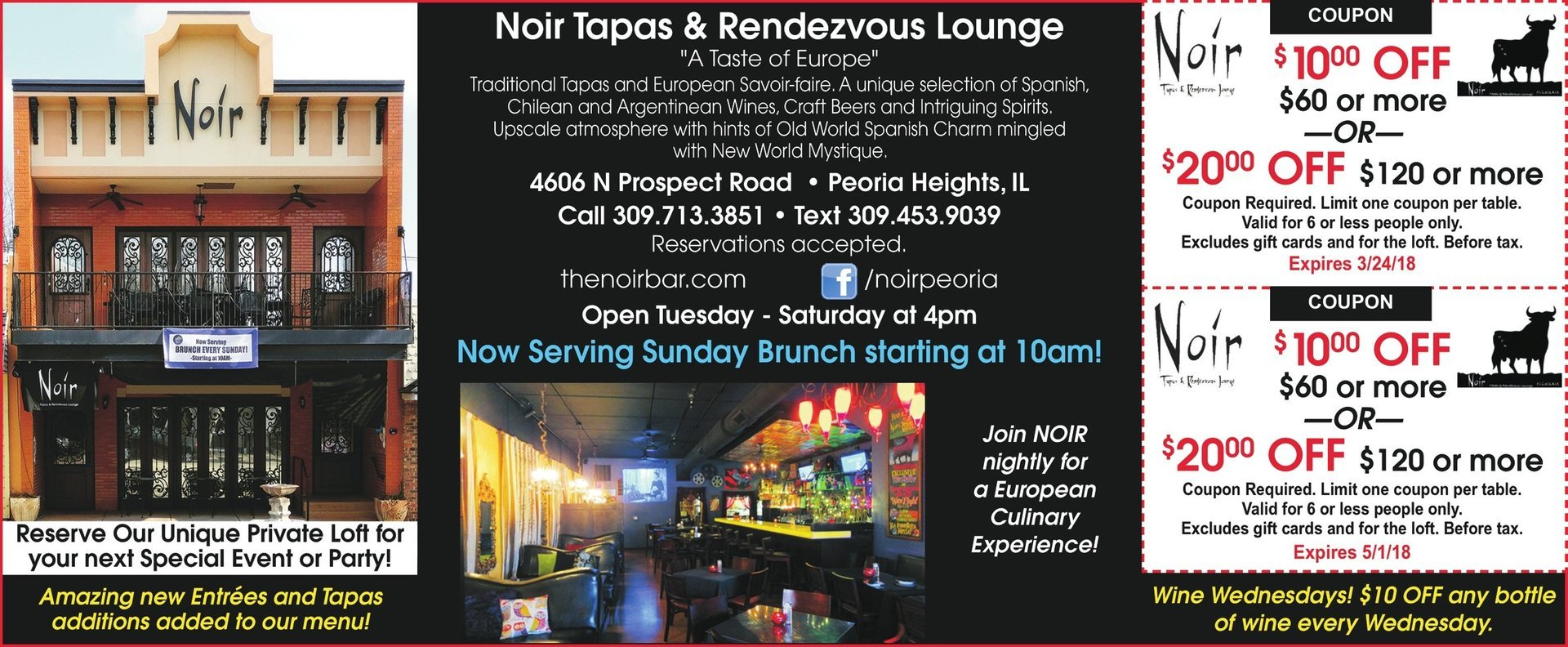 Noir Tapas and Rendezvous Lounge coupons Peoria Heights, IL