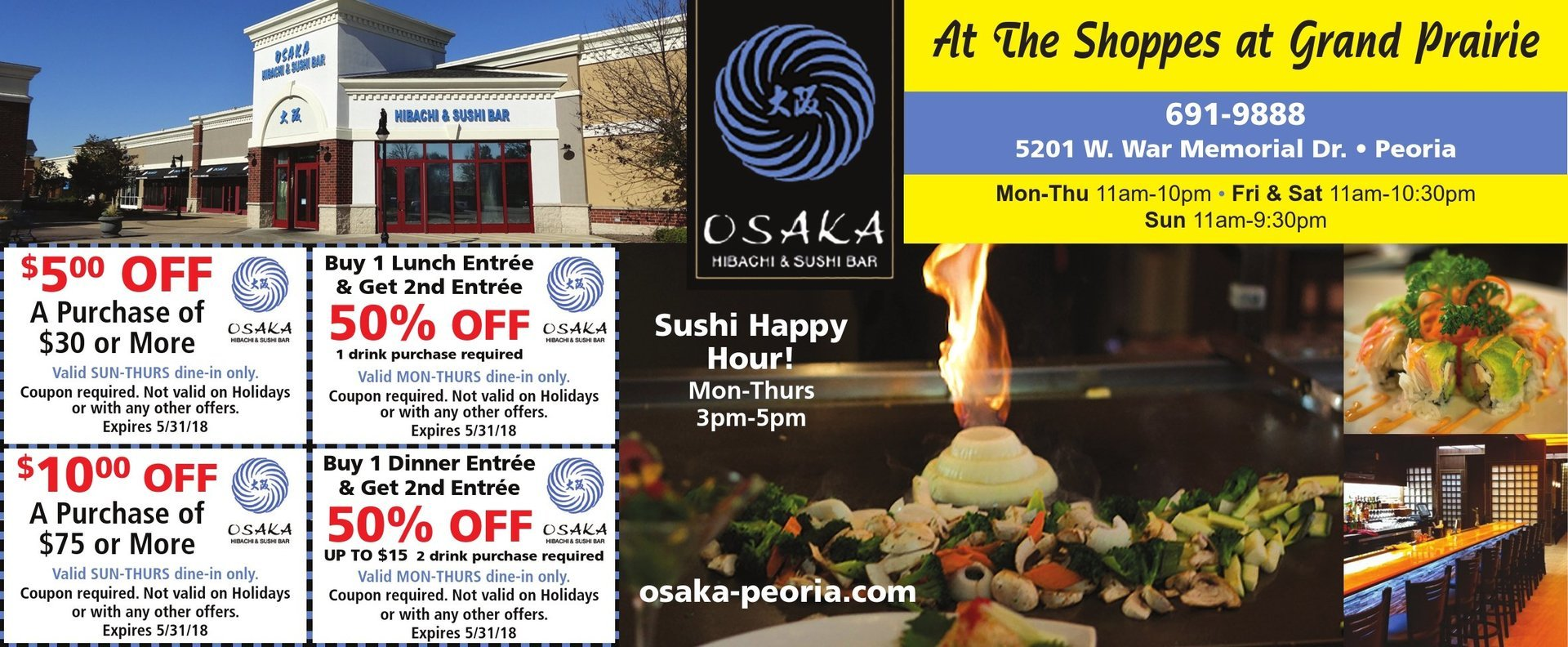Osaka Hibachi and Sushi Bar lunch dinner Peoria, IL