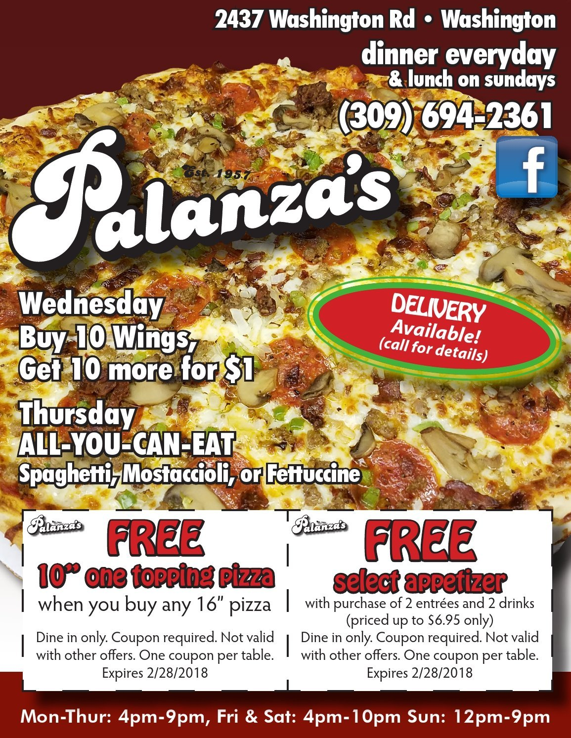 Palanza's Family Dining and Pizza coupons Washington, IL