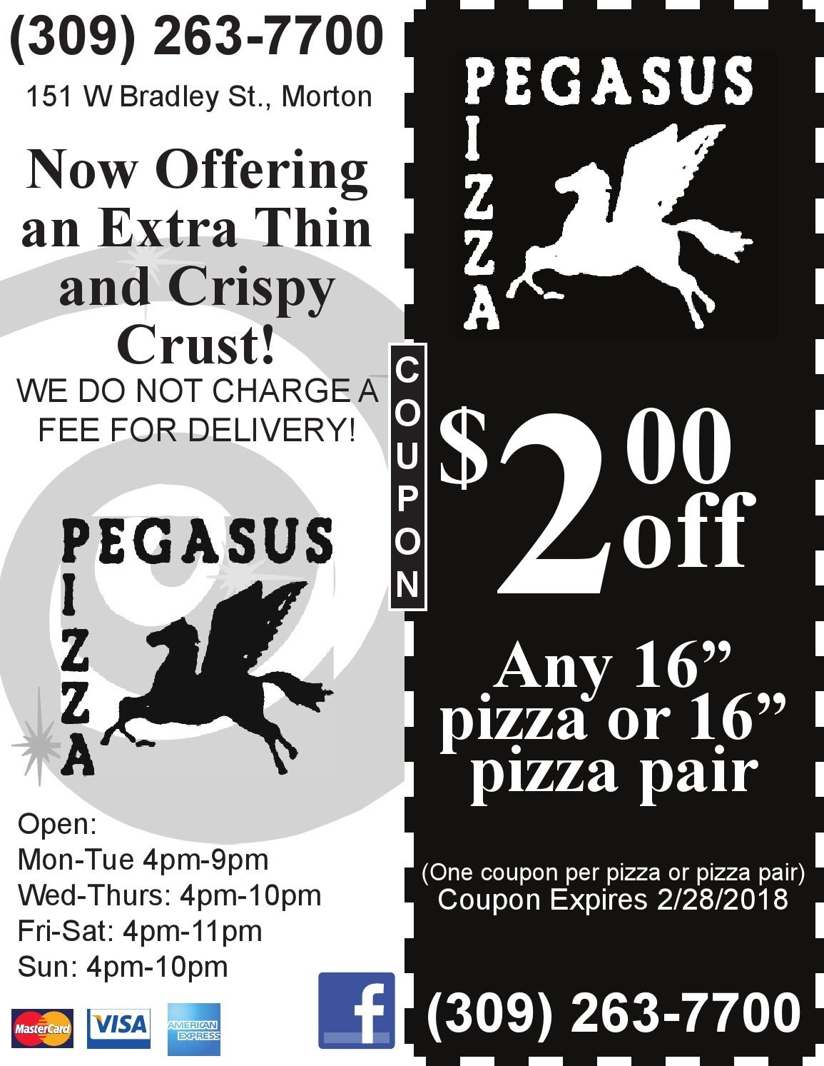 Pegasus Pizza $ off pizza or pair Morton, IL