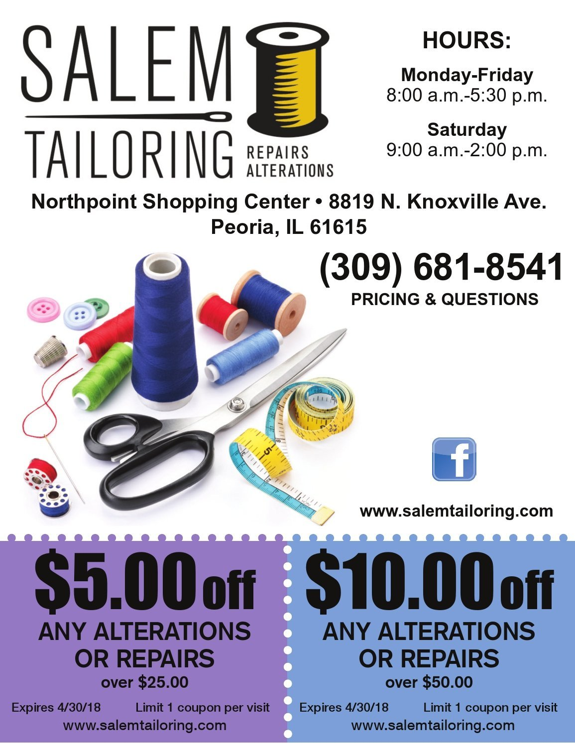 Salem Tailoring repairs and alterations coupons Peoria, IL