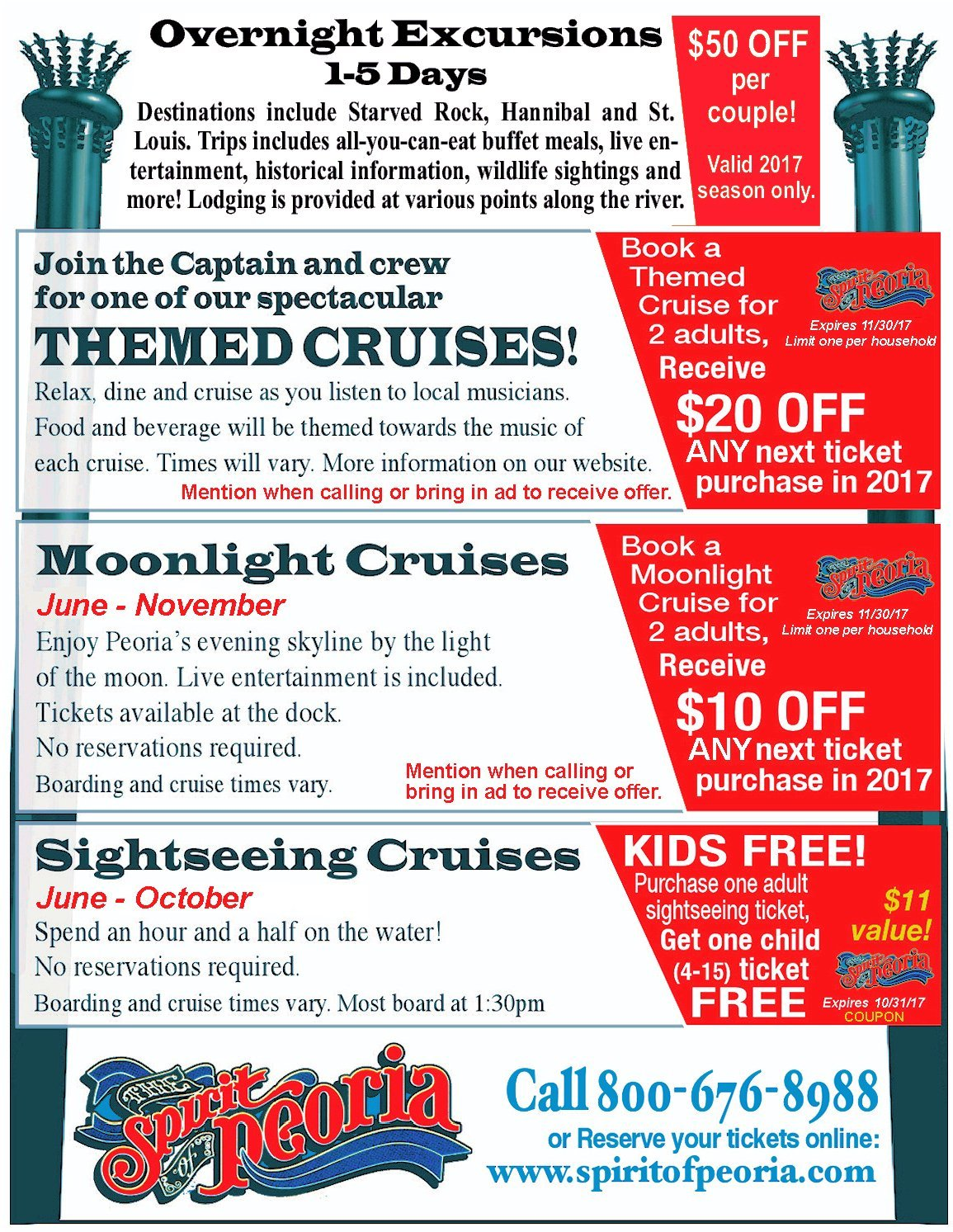 Spirit of Peoria Riverboat Cruises themed, moonlight and sightseeing coupons Peoria, IL