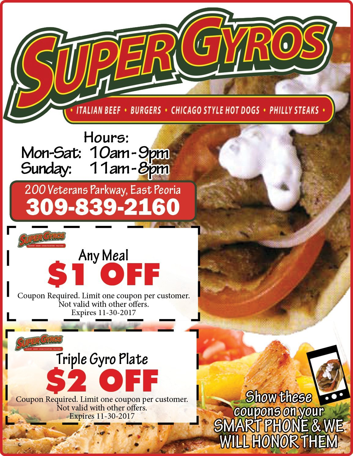 Super Gyros $ off any meal and triple gyro plate coupons East Peoria, IL