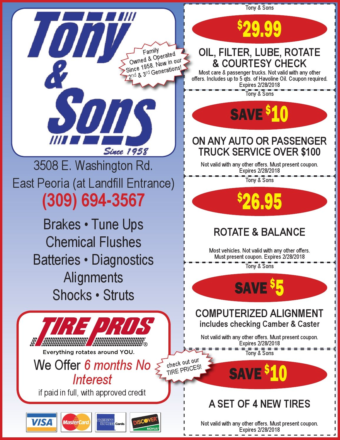 Tony and Sons auto service, tires, repairs, maintainence, rotate and balance, oil change coupons East Peoria, IL