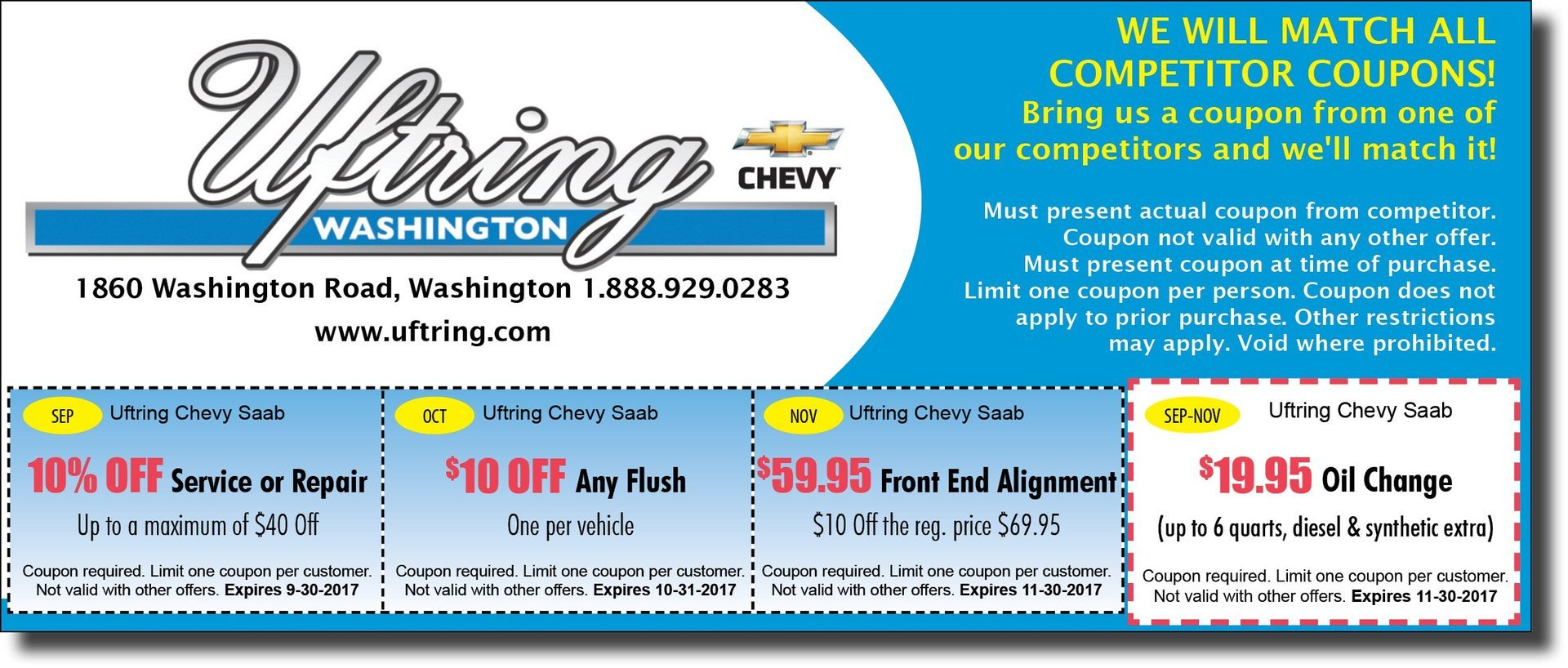 Uftring Chevy Washington $ off service, front end alignment, oil change $19.95 coupons Washington, IL