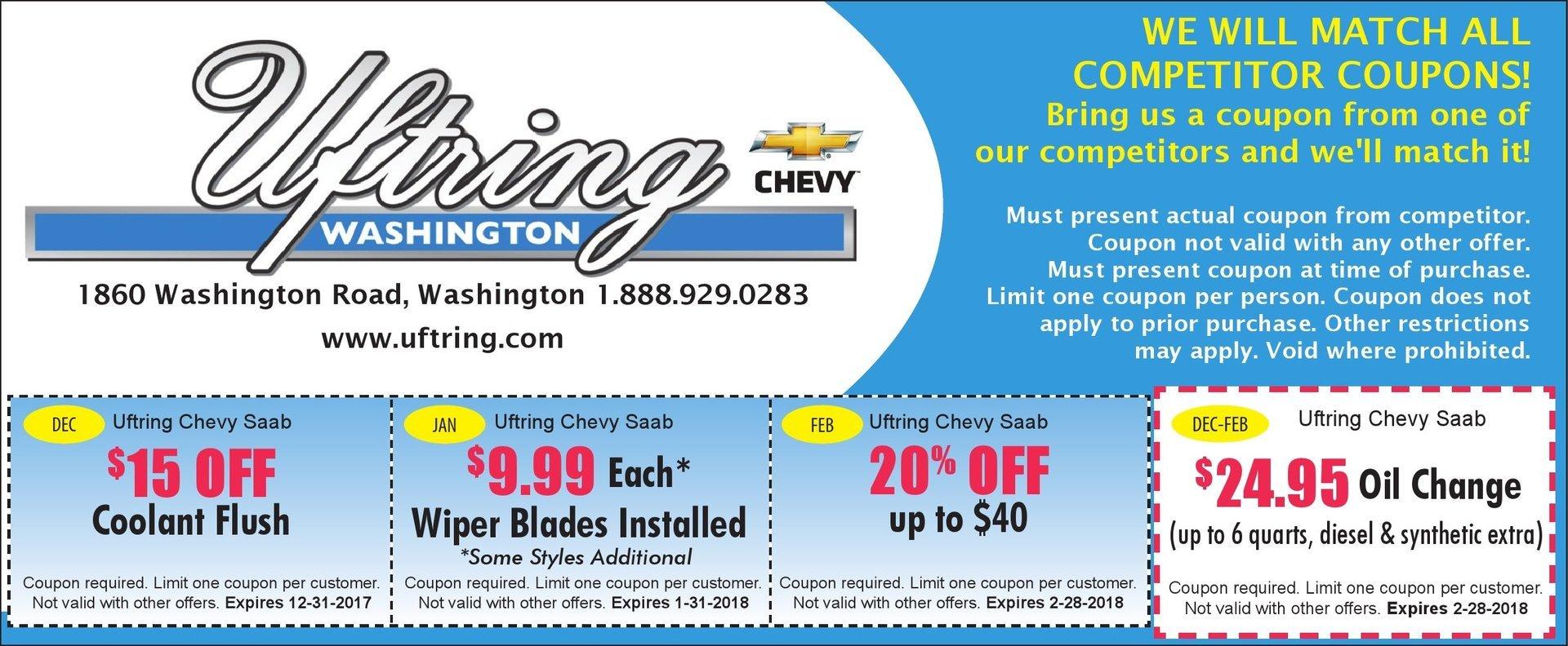 Uftring Chevy Washington $15 off coolant flush, $9.99 wiper blades, 20% off service, oil change $24.95 coupons Washington, IL