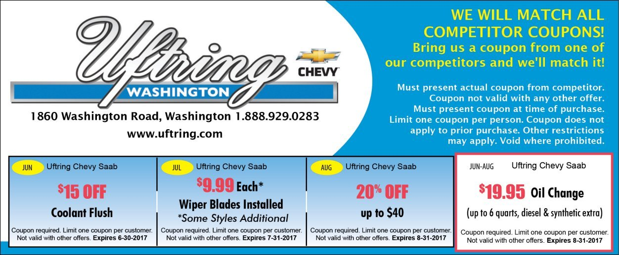 Uftring Chevy in Washington coupons