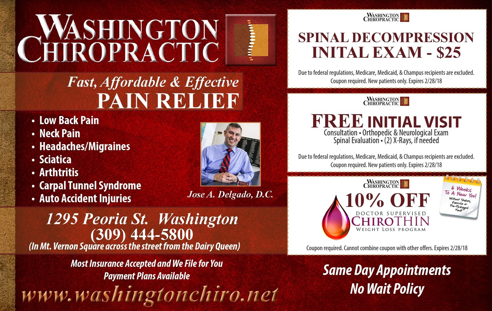 Washington Chiropratic pain relief spinal decompression, free visit, weightloss coupons Washington, IL