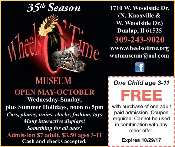 Wheels O' Time Museum kids free coupon Dunlap, IL