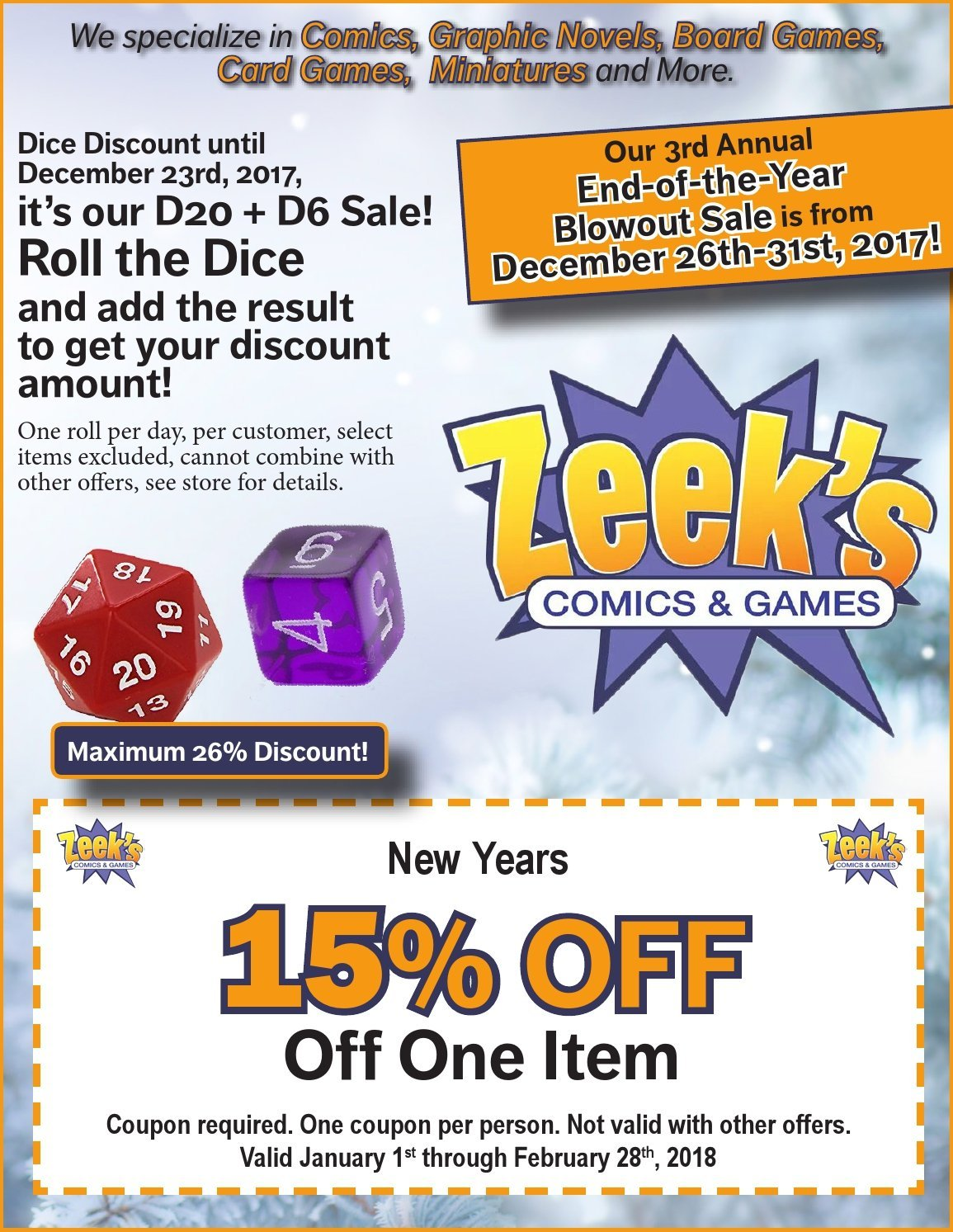 Zeeks Comics and Games D20 + D6 sale, end-of-the-year blowout, 15% off coupon Sunnyland Washington, IL