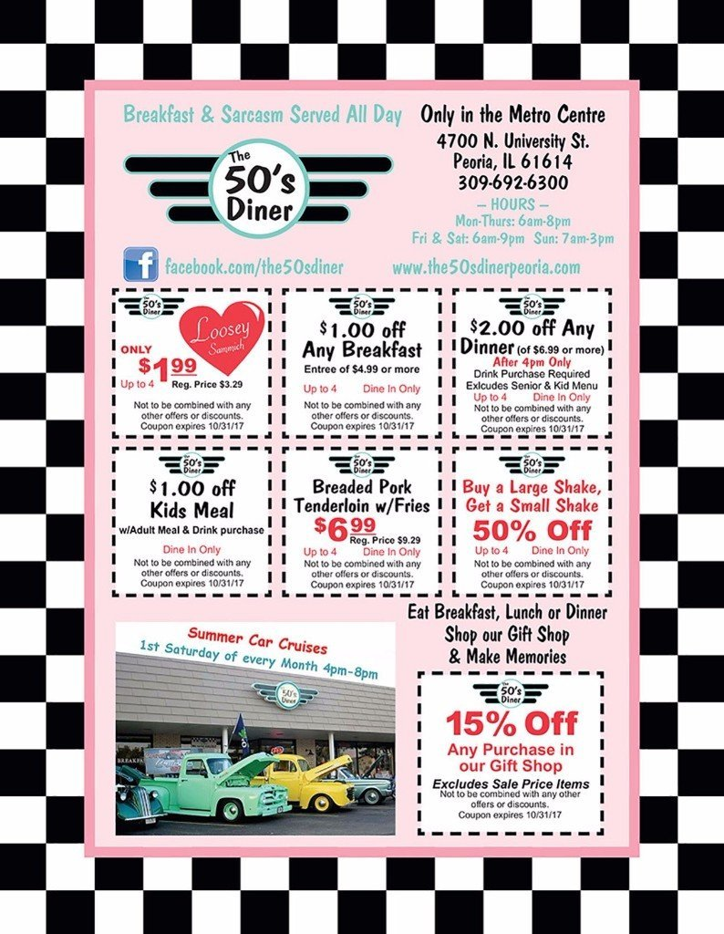 The 50's Diner breakfast lunch dinner coupons Peoria, IL