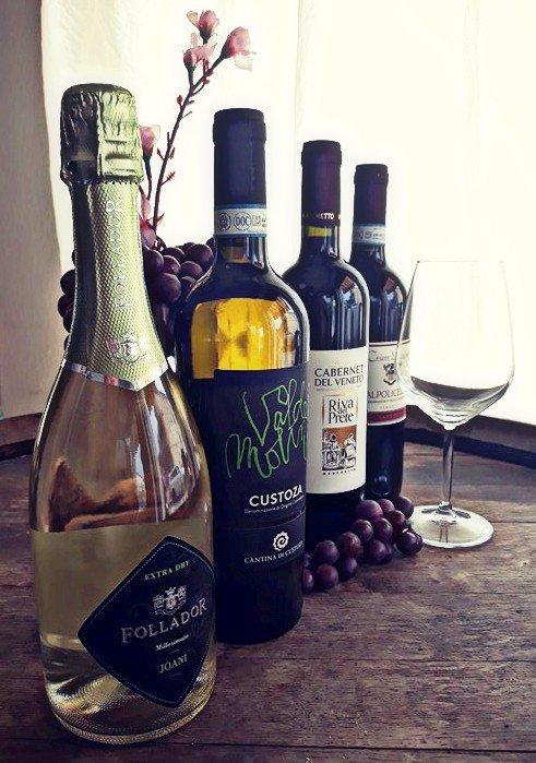varie bottiglie di  vino biancho e rosso