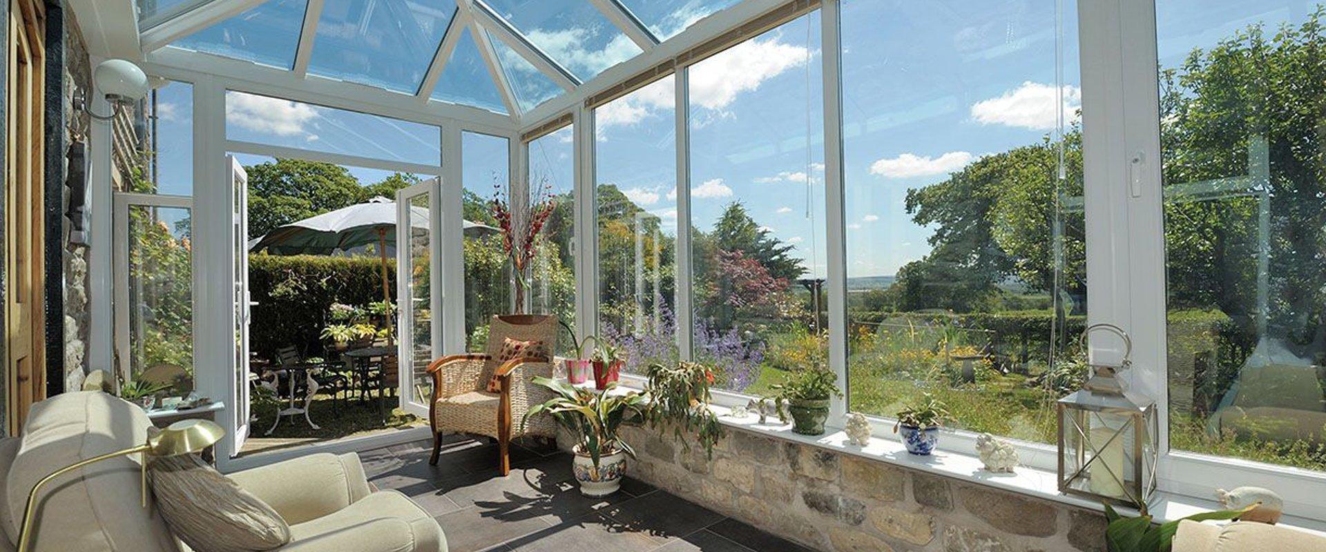 Full-length glass windows