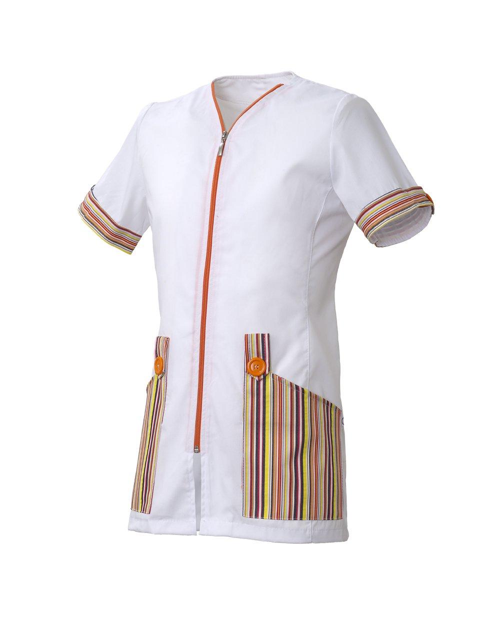 un'uniforme di color bianco con delle tasche colorate