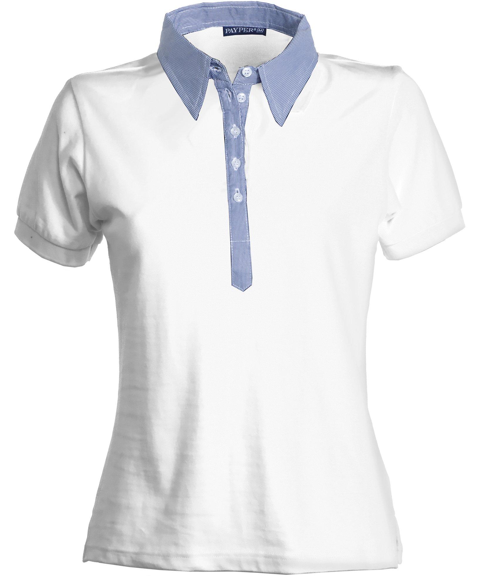 una maglietta da donna di color bianco con colletto di color azzurro