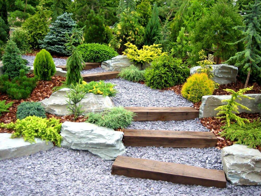 garden design with wooden steps
