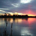 Beautiful evening lake scenery