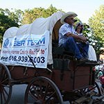 Promoting the company on  horse cart front view