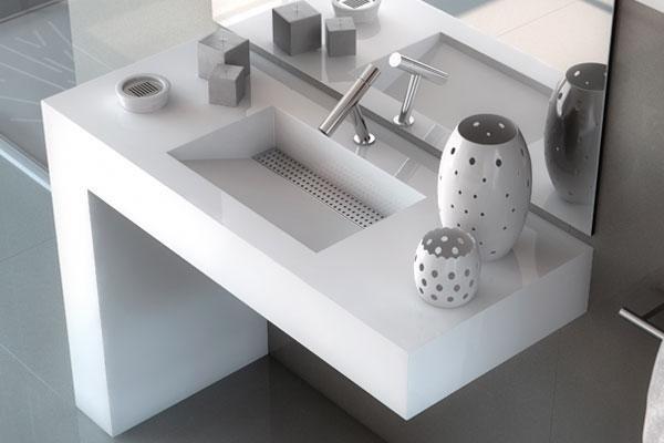 vista dall`alto di un lavabo moderno