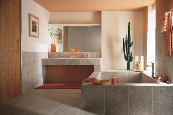 vista di un bagno con lavandino e vasca