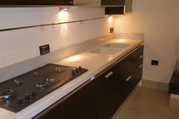 vista frontale di una superifice con fornelli in cucina