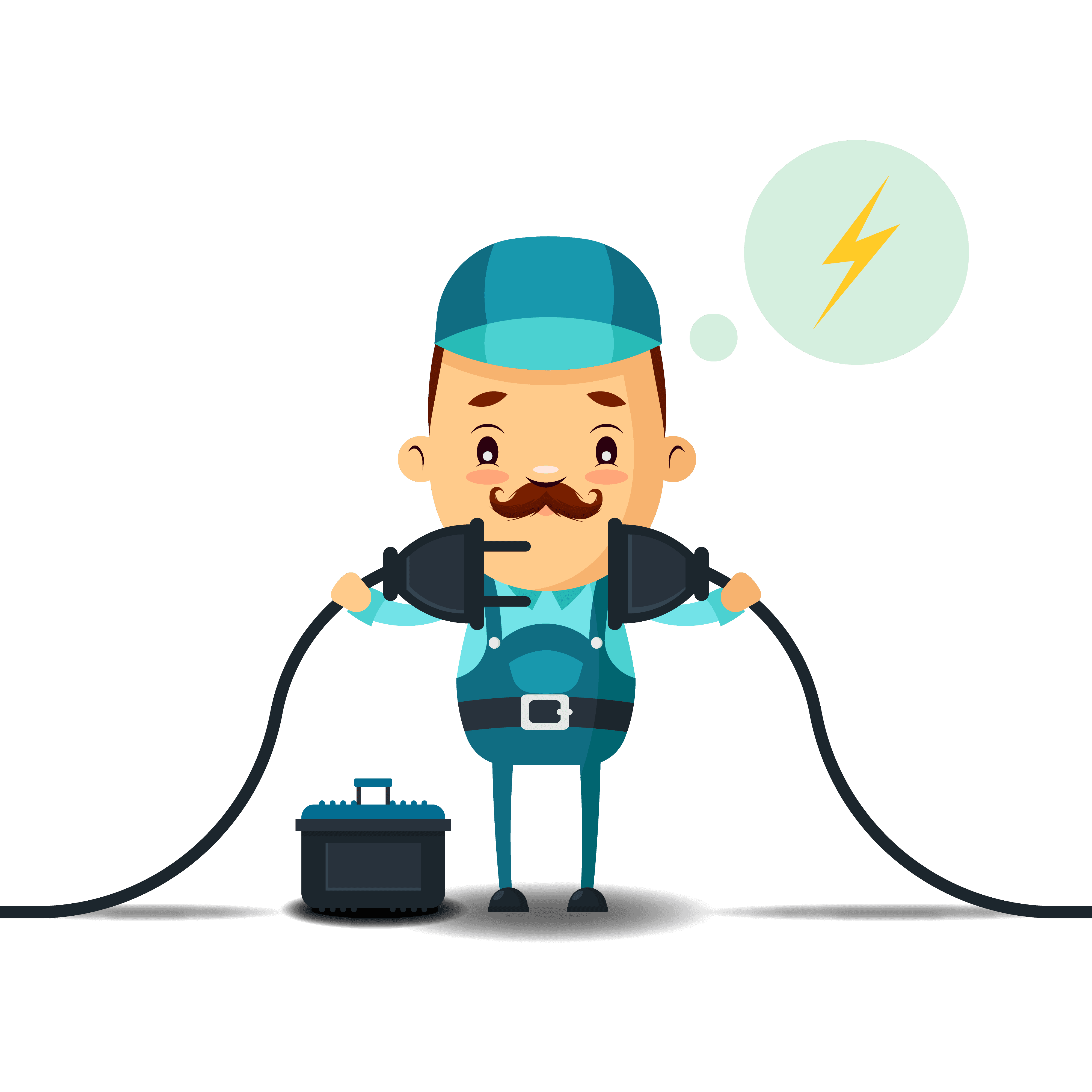 Icona di un elettricista che collega una spina a una presa