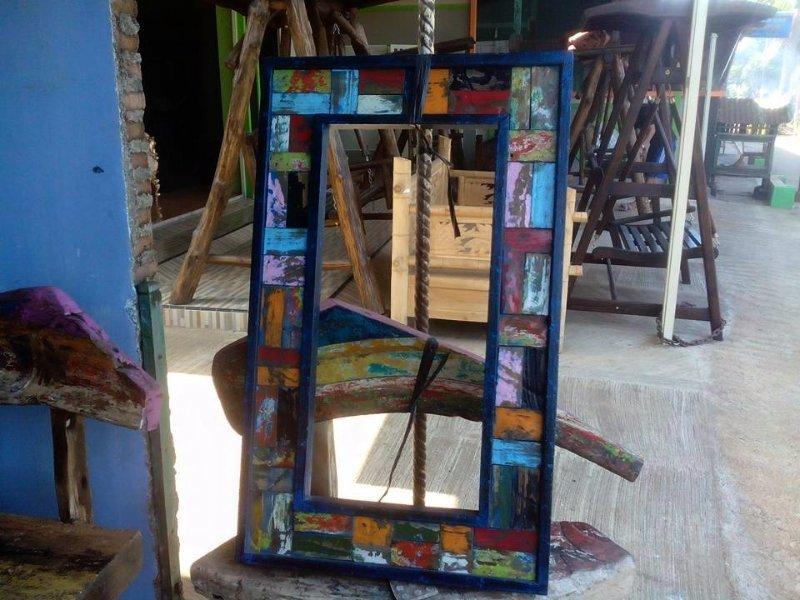 specchio in legno massello teak