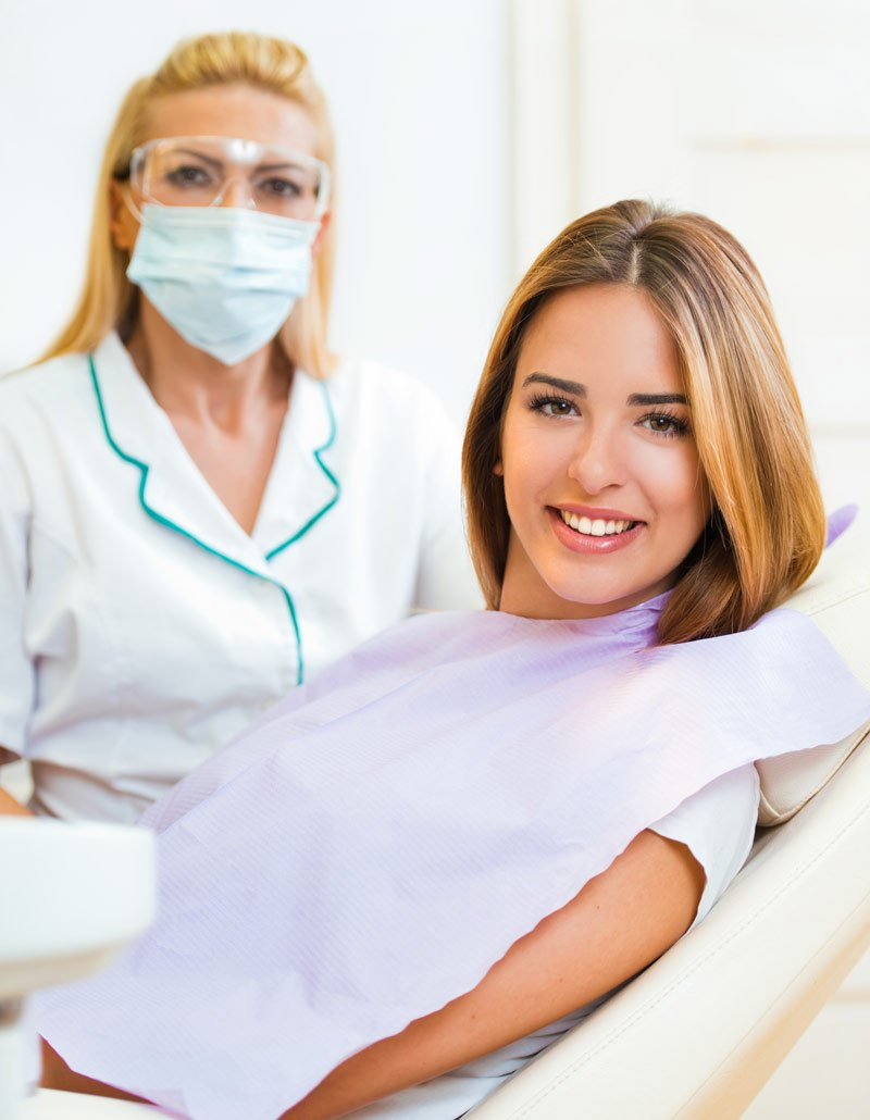 dental vision young woman in dentist chair