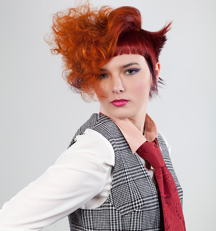 red hair styled