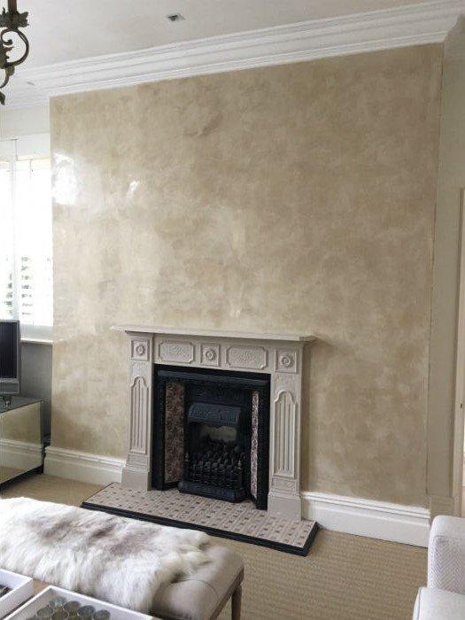 venetian plastery beige fireplace