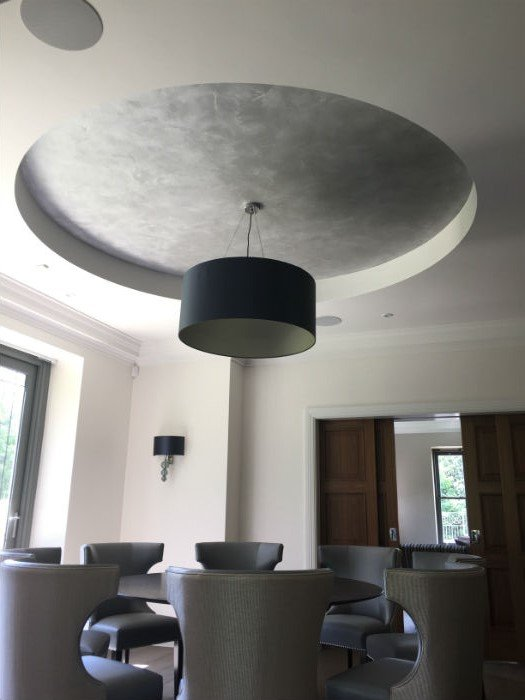 venetian plastery grey minimalist living room