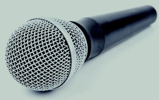 Isolated microphone laying on a surface